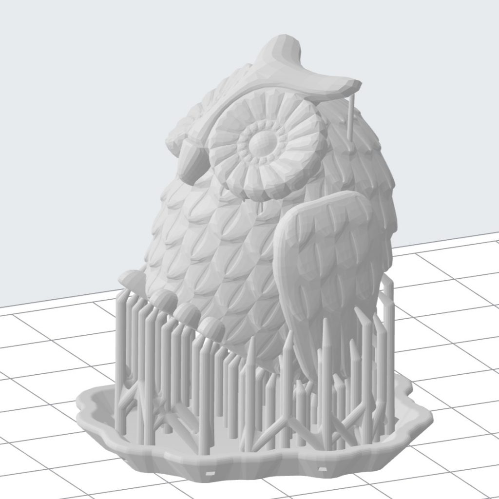 3d owl model with supports ready to print.